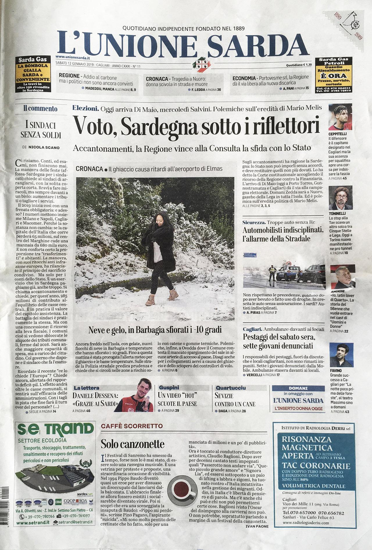L'UNIONE SARDA 12.01.2019